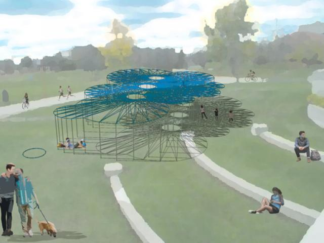 A rendering of ft3's winning entry for Cool Gardens 2019 at The Forks, Winnipeg. Vertical support poles hold up a randomly organized sets of string art type canoponies which allow people to take shade yet be able to gaze at the clouds above.