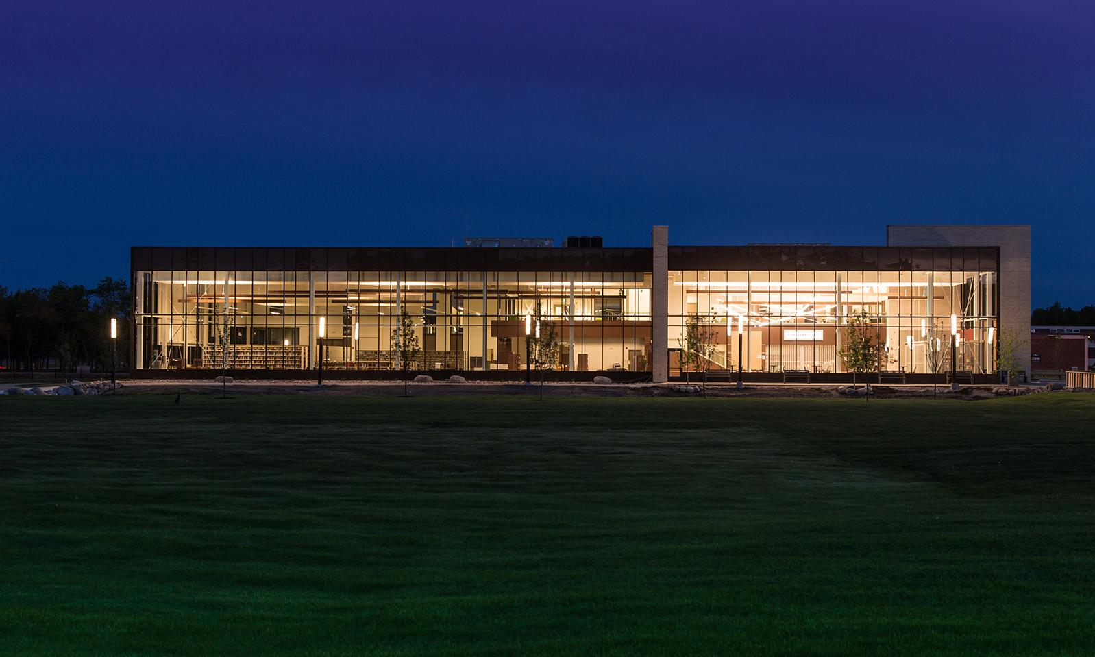 Canadian Mennonite University, Marpeck Commons. North side of the library at night.