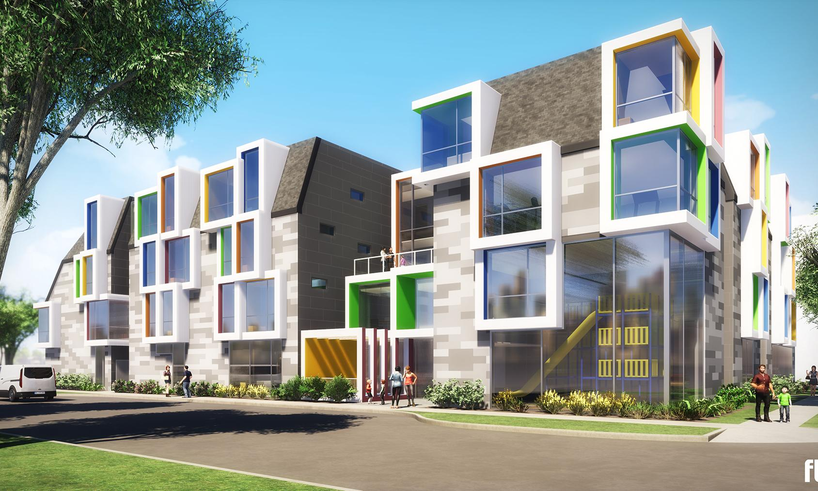 Ronald McDonald House. Rendering of the new three-storey building with floor-to-ceiling colourful windows as a focal point.