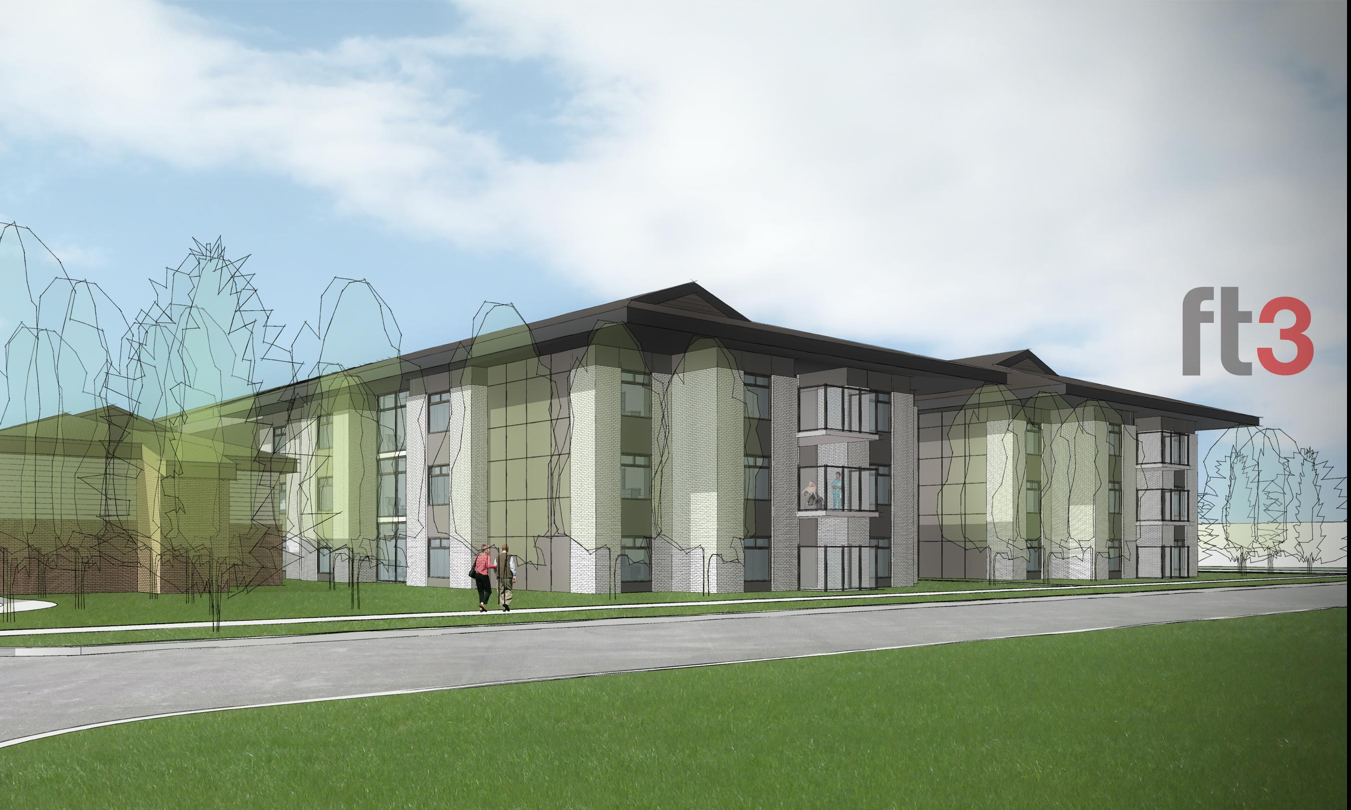 Rest Haven Nursing Home. Rendering of the new addition to the personal care home as seen from the side / street view.