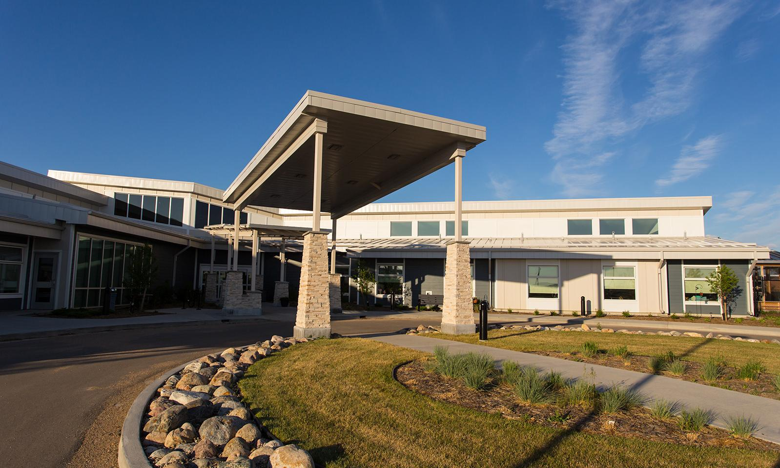 Rosetown Integrated Health Centre. Front of the facility from the circular driveway.